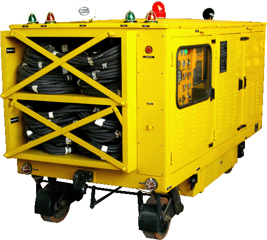 Features :  Can be driven along tarmac to aircraft  Diesel engine driven alternator for 400Hz supply  Battery backup  28V dc supply at 1000A for engine starting